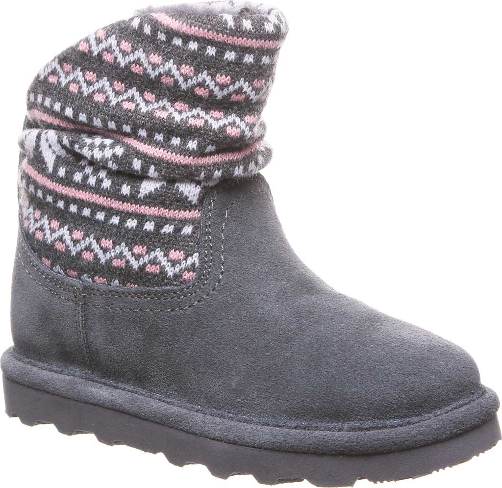 Girls' Bearpaw Virginia Bootie Youth, Charcoal Suede, large, image 1