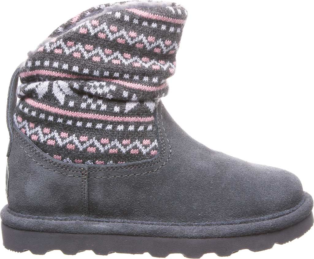 Girls' Bearpaw Virginia Bootie Youth, Charcoal Suede, large, image 2