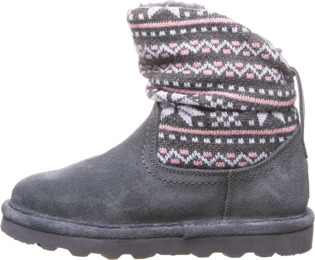 Girls' Bearpaw Virginia Bootie Youth, Charcoal Suede, large, image 3