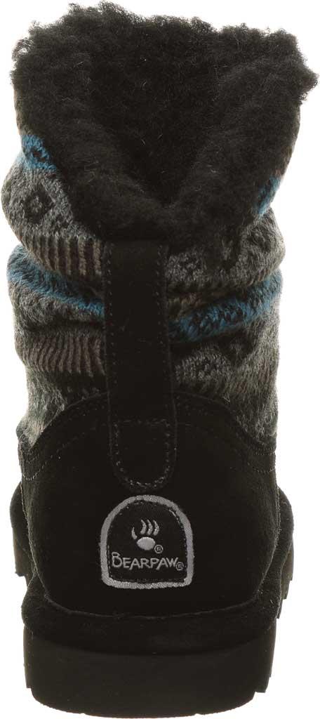 Girls' Bearpaw Virginia Bootie Youth, Black Print Suede/Knit, large, image 4