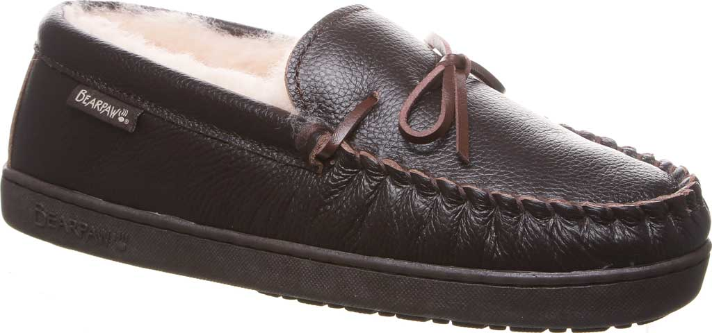 Men's Bearpaw Mach IV Wide Moccasin Slipper, Chocolate Full Grain Leather, large, image 1