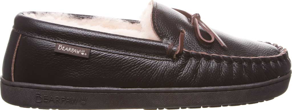 Men's Bearpaw Mach IV Wide Moccasin Slipper, Chocolate Full Grain Leather, large, image 2