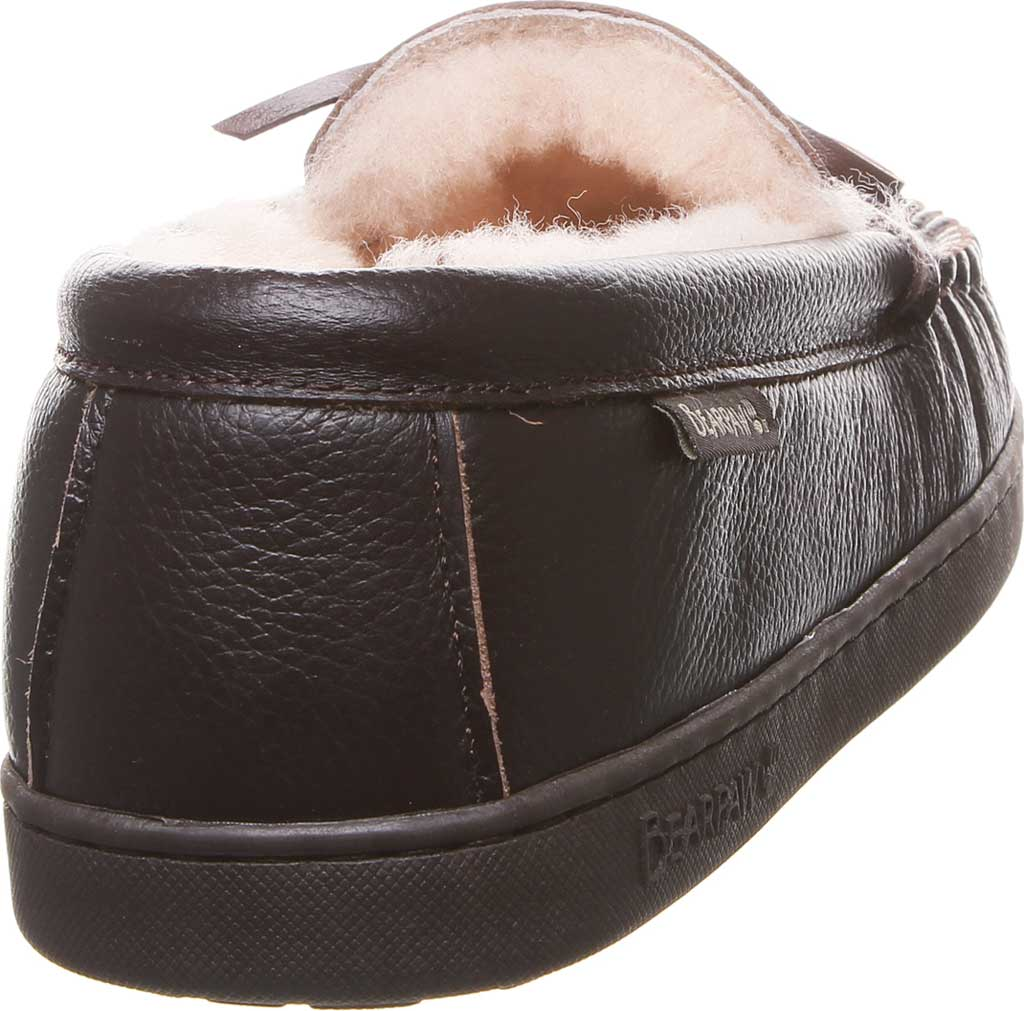 Men's Bearpaw Mach IV Wide Moccasin Slipper, Chocolate Full Grain Leather, large, image 4