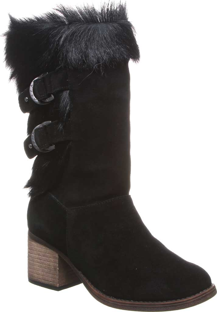 Women's Bearpaw Madeline Mid Calf Boot, Black II Suede/Goat Fur, large, image 1