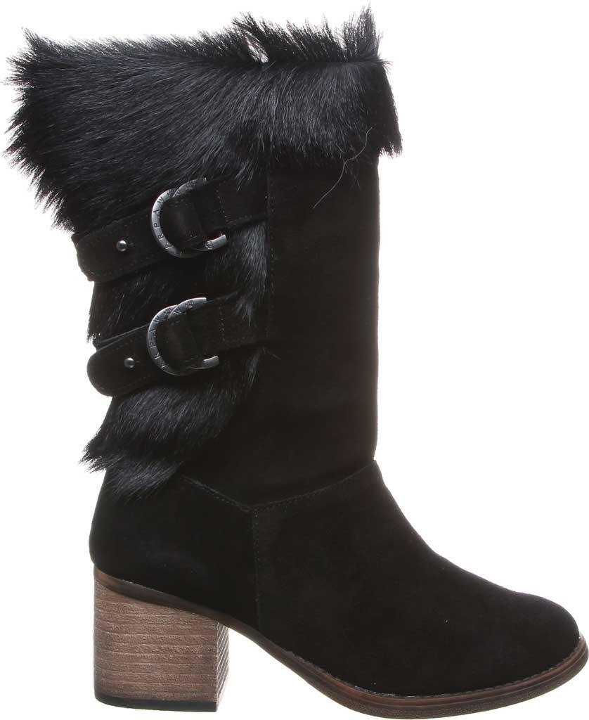 Women's Bearpaw Madeline Mid Calf Boot, Black II Suede/Goat Fur, large, image 2