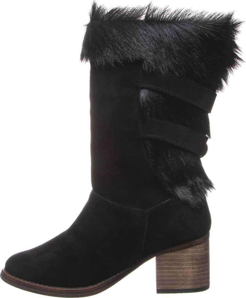 Women's Bearpaw Madeline Mid Calf Boot, Black II Suede/Goat Fur, large, image 3