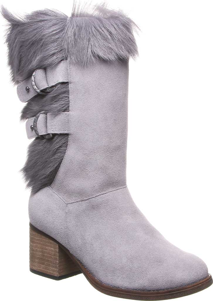 Women's Bearpaw Madeline Mid Calf Boot, Gray Fog Suede/Goat Fur, large, image 1
