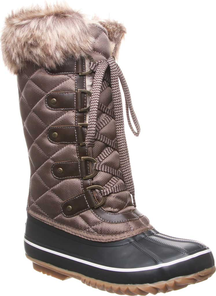Women's Bearpaw Mckinley Duck Boot, Brown Waterproof Rubber/Quilted Nylon, large, image 1