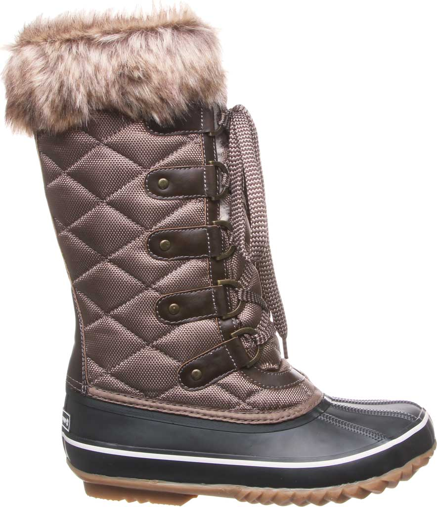 Women's Bearpaw Mckinley Duck Boot, Brown Waterproof Rubber/Quilted Nylon, large, image 2