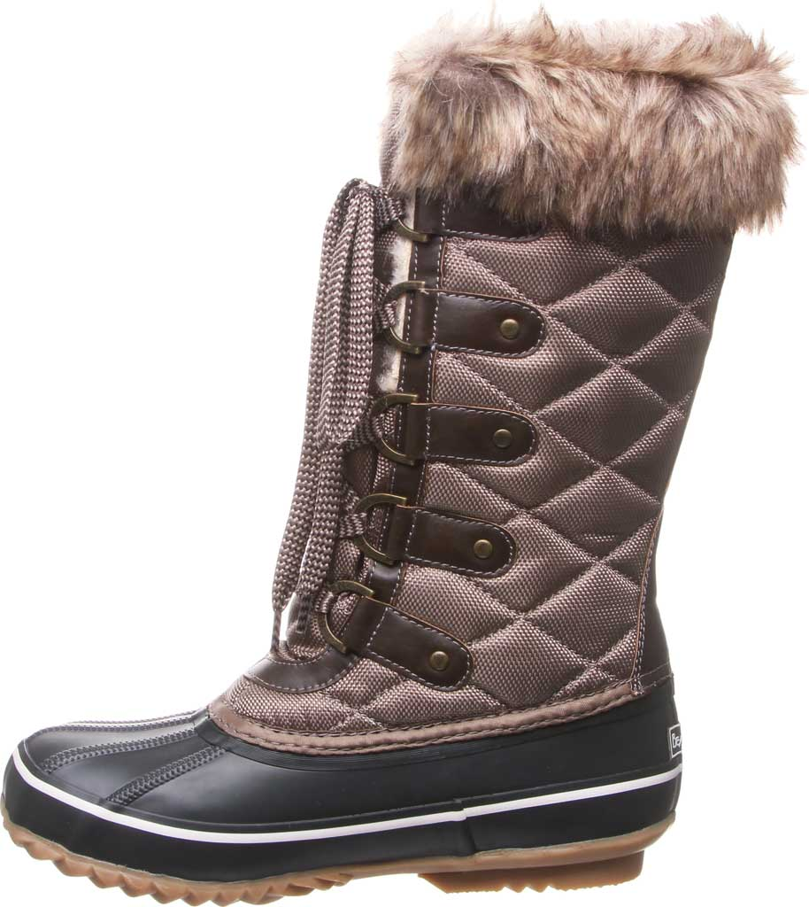 Women's Bearpaw Mckinley Duck Boot, Brown Waterproof Rubber/Quilted Nylon, large, image 3