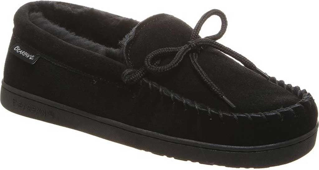 Men's Bearpaw Moc II Wide Slipper, Black Suede/Wool Blend, large, image 1