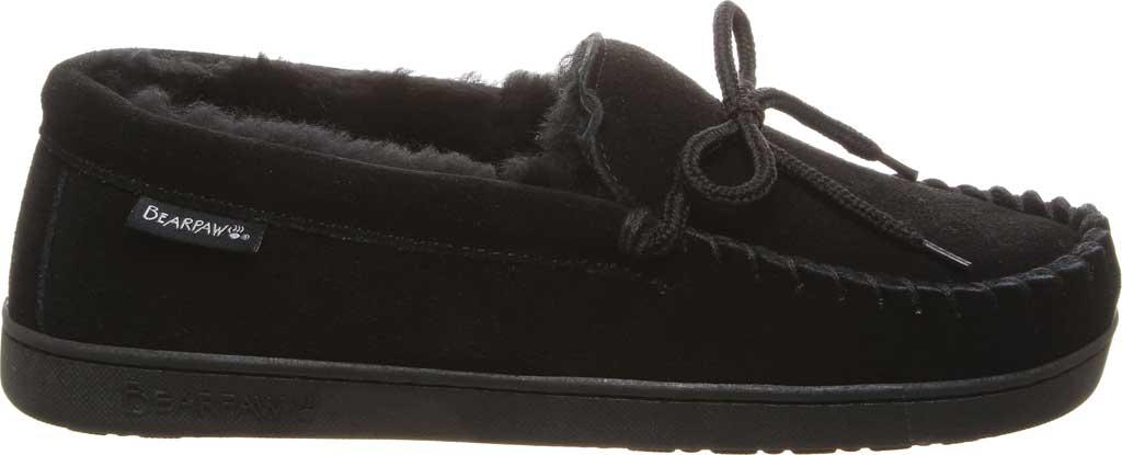 Men's Bearpaw Moc II Wide Slipper, Black Suede/Wool Blend, large, image 2