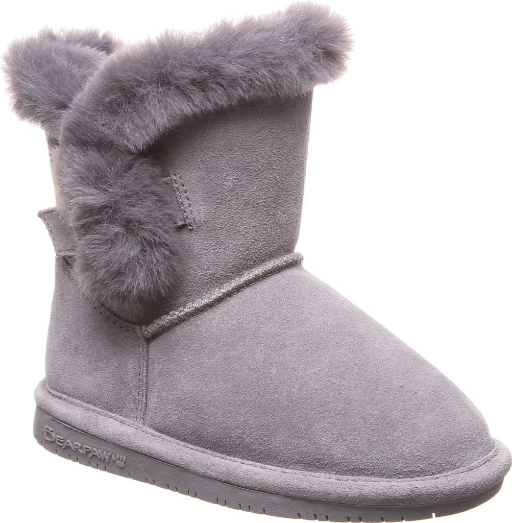 Girls' Bearpaw Betsey Pull On Boot Youth, Gray Fog Suede, large, image 1