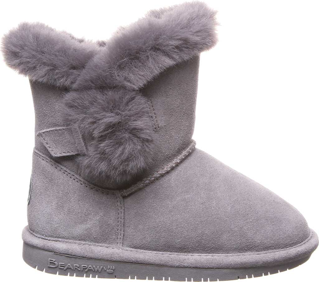 Girls' Bearpaw Betsey Pull On Boot Youth, Gray Fog Suede, large, image 2
