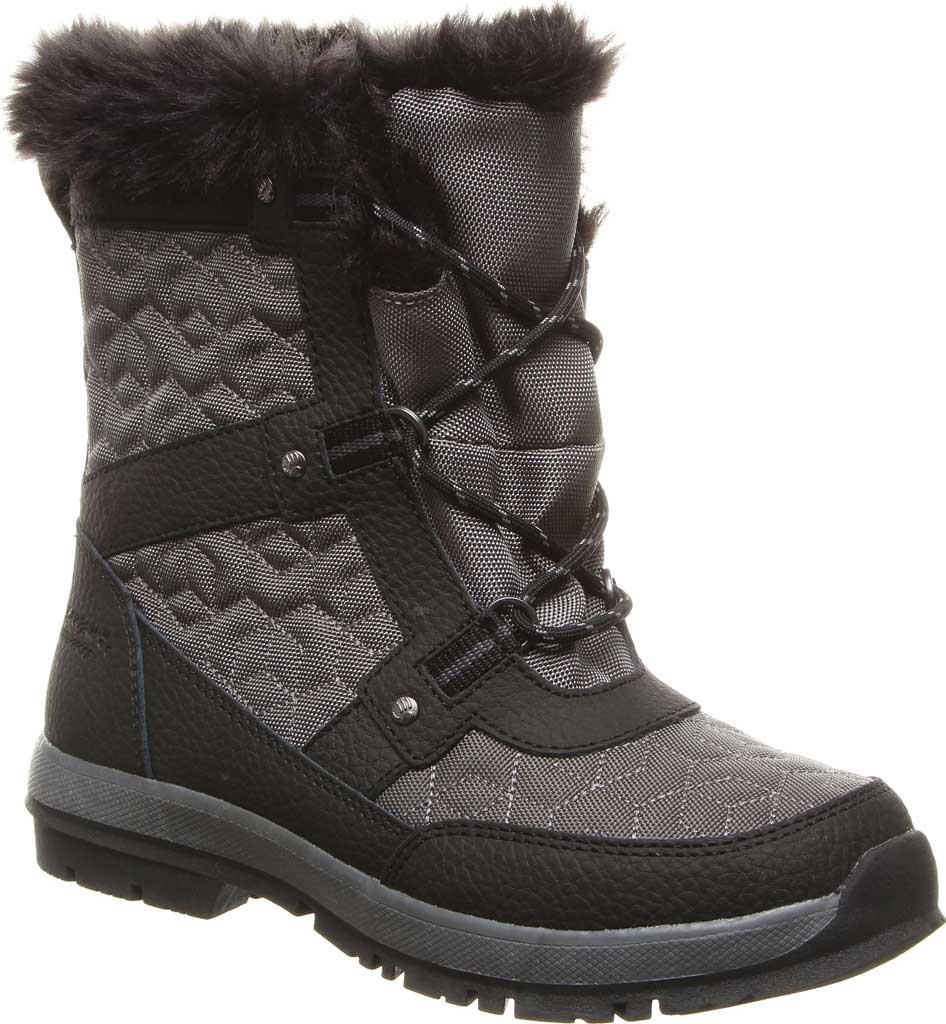 Women's Bearpaw Marina Ankle Bootie, Black/Grey Quilted Nylon/Action Leather, large, image 1