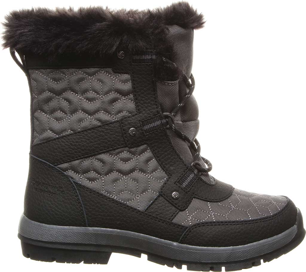Women's Bearpaw Marina Ankle Bootie, Black/Grey Quilted Nylon/Action Leather, large, image 2