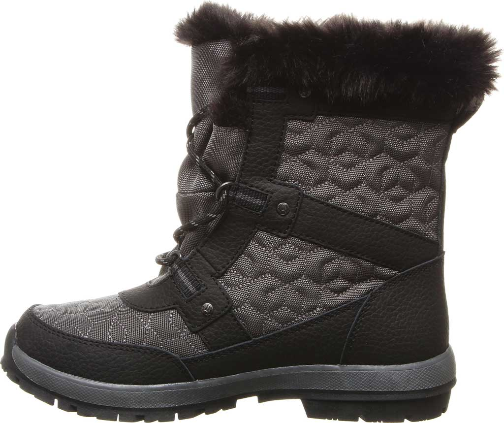 Women's Bearpaw Marina Ankle Bootie, Black/Grey Quilted Nylon/Action Leather, large, image 3