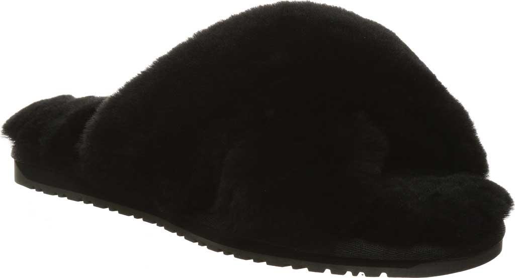 Women's Bearpaw Bliss Furry Slipper, Black II Suede, large, image 1