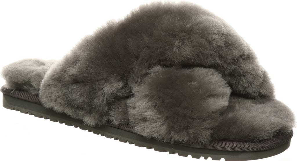 Women's Bearpaw Bliss Furry Slipper, Charcoal Suede, large, image 1