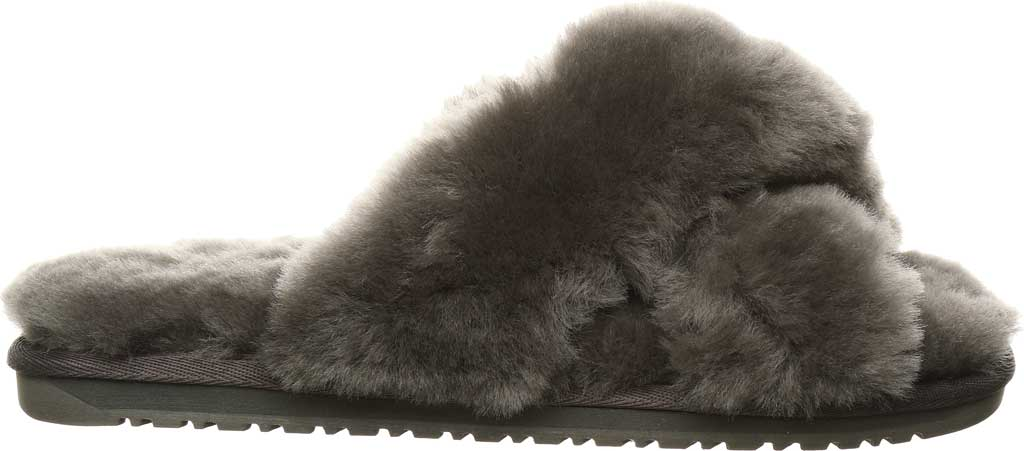Women's Bearpaw Bliss Furry Slipper, Charcoal Suede, large, image 2