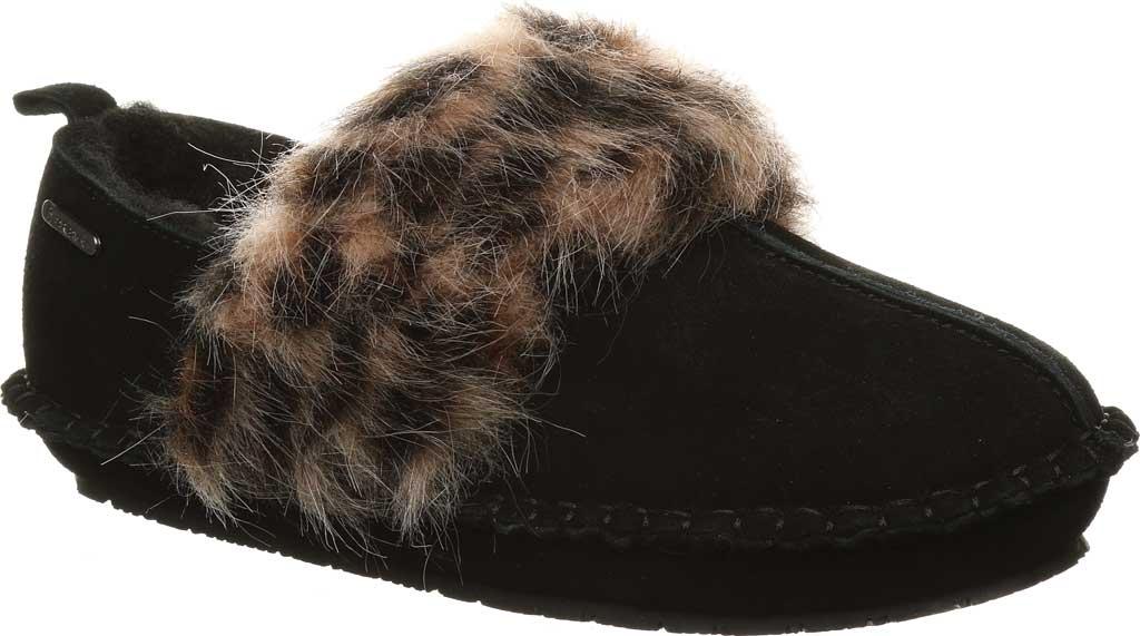 Women's Bearpaw Kimbertree Slipper, Black II/Leopard Suede, large, image 1