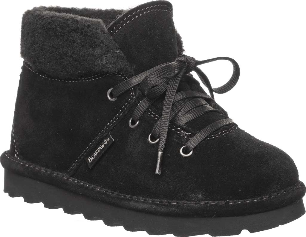 Children's Bearpaw Marta Youth Lace Up Boot, Black II Suede, large, image 1