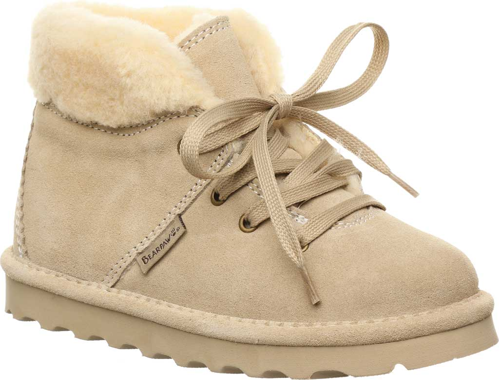 Children's Bearpaw Marta Youth Lace Up Boot, Oat Suede, large, image 1