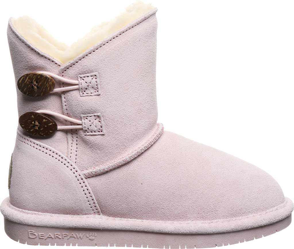 Girls' Bearpaw Rosaline Youth Toggle Boot, Pale Pink Suede, large, image 2