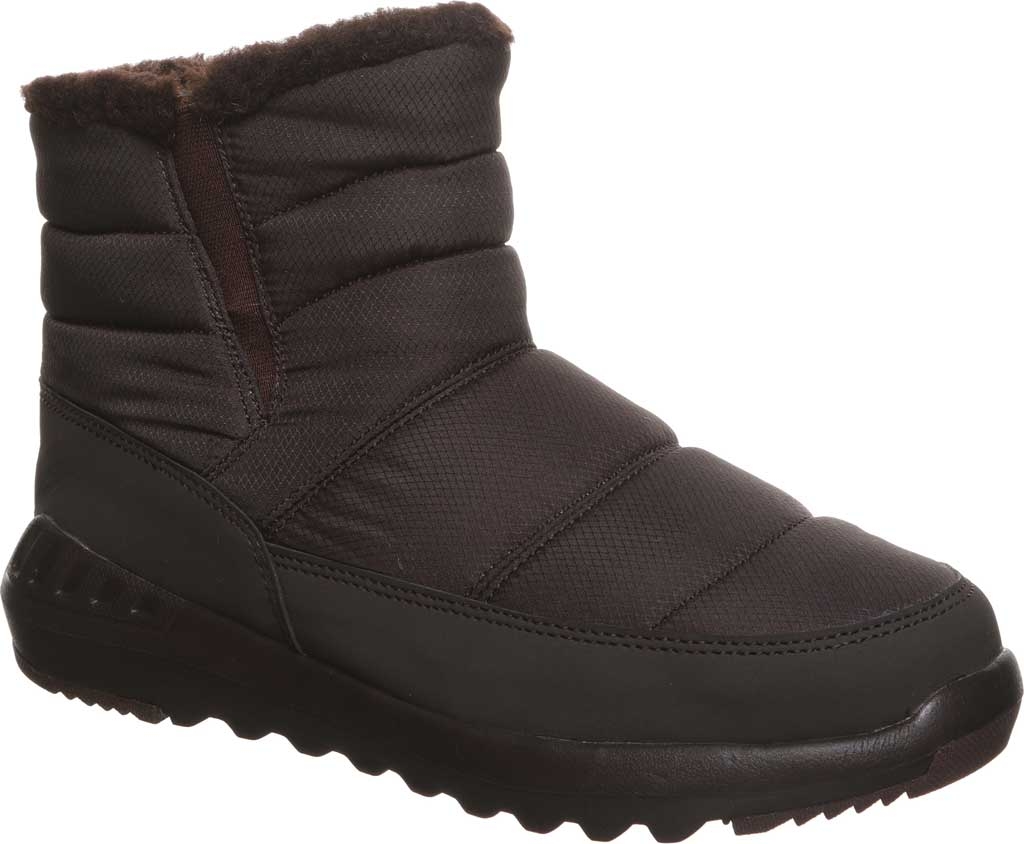 Women's Bearpaw Puffy Quilted Ankle Bootie, Brown Nylon, large, image 1