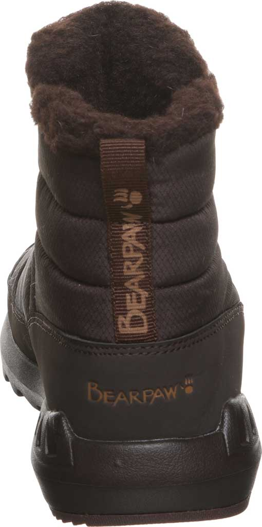 Women's Bearpaw Puffy Quilted Ankle Bootie, Brown Nylon, large, image 4