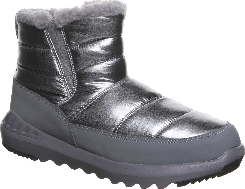 Women's Bearpaw Puffy Quilted Ankle Bootie, Pewter Nylon, large, image 1