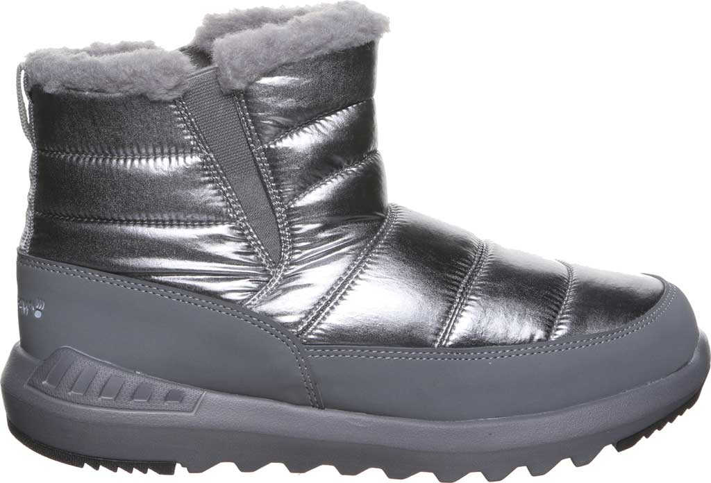Women's Bearpaw Puffy Quilted Ankle Bootie, Pewter Nylon, large, image 2