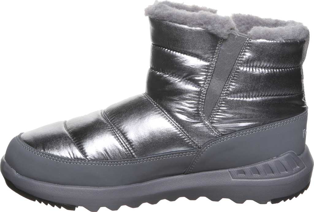 Women's Bearpaw Puffy Quilted Ankle Bootie, Pewter Nylon, large, image 3
