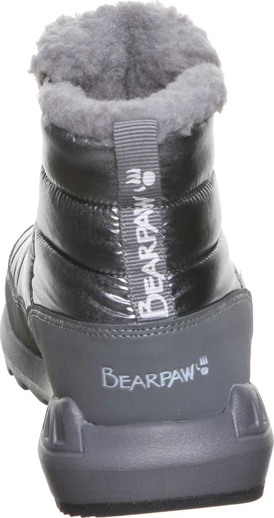 Women's Bearpaw Puffy Quilted Ankle Bootie, Pewter Nylon, large, image 4