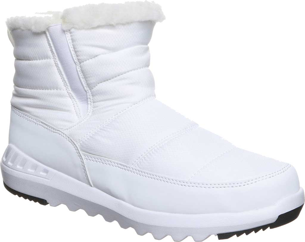 Women's Bearpaw Puffy Quilted Ankle Bootie, White Nylon, large, image 1