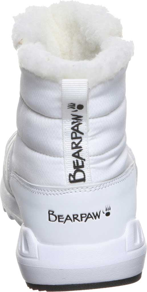 Women's Bearpaw Puffy Quilted Ankle Bootie, White Nylon, large, image 4
