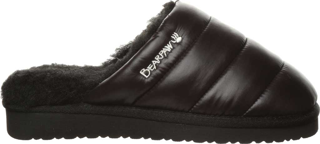 Women's Bearpaw Puffy Scuff Slipper, Black II Nylon, large, image 2