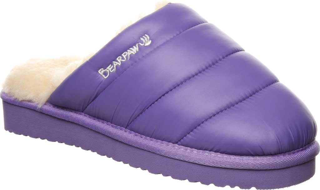 Women's Bearpaw Puffy Scuff Slipper, Purple Nylon, large, image 1