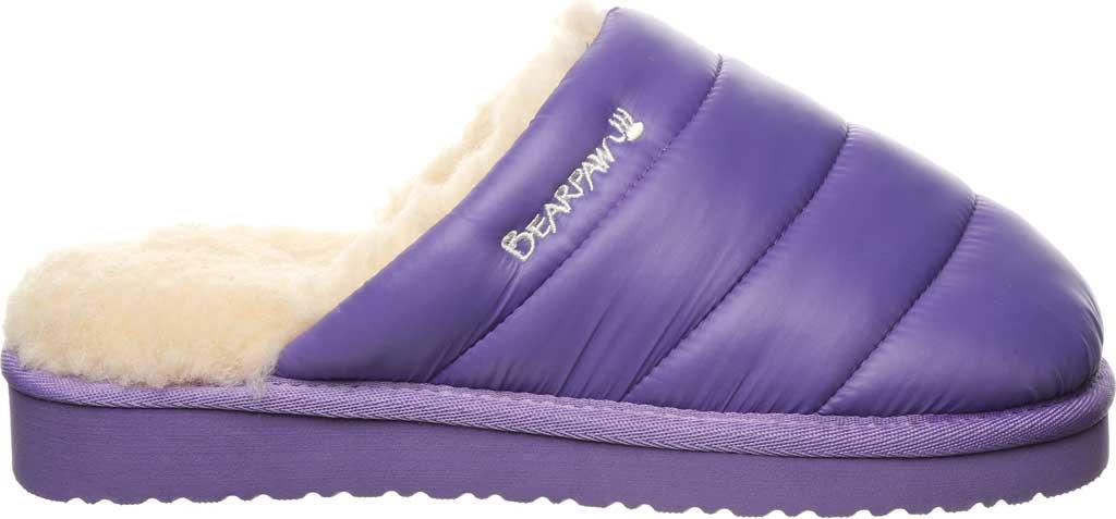 Women's Bearpaw Puffy Scuff Slipper, Purple Nylon, large, image 2