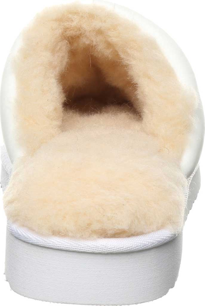 Women's Bearpaw Puffy Scuff Slipper, White Cow Nylon, large, image 4