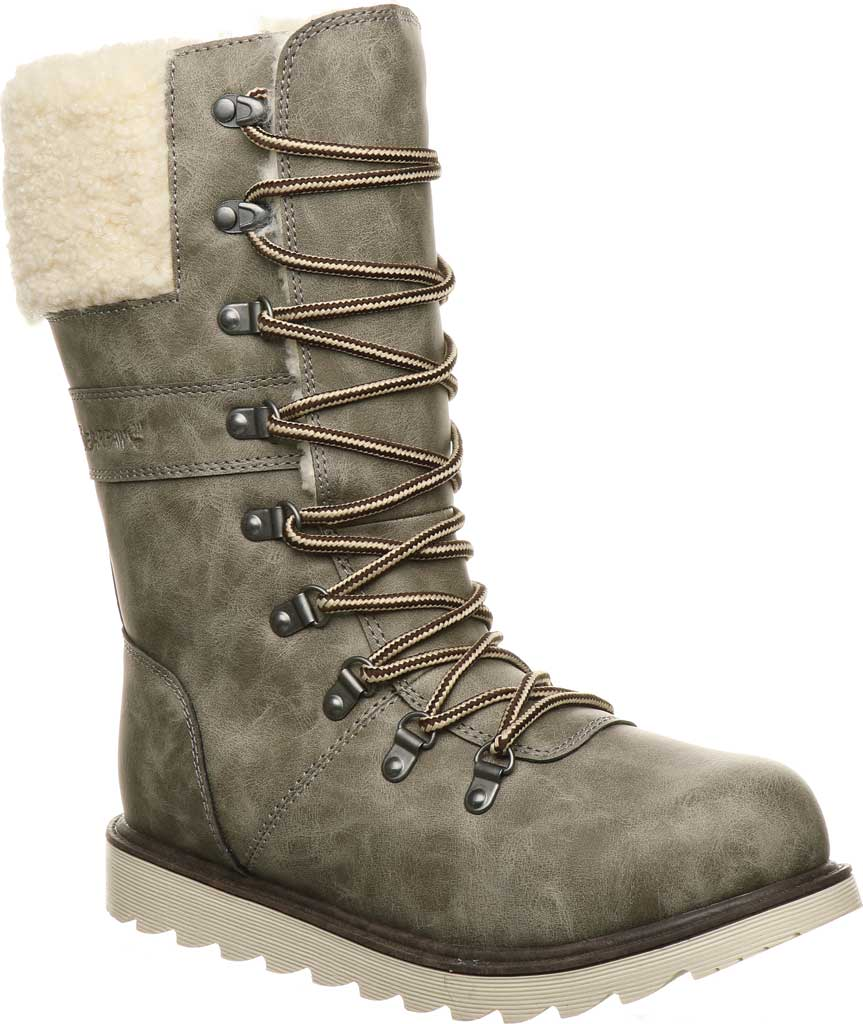 Women's Bearpaw Alaska Mid Calf Winter Boot, Taupe Faux Leather, large, image 1