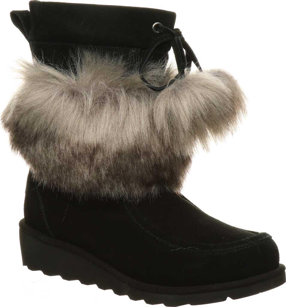 Women's Bearpaw Arden Moc Toe Wedge Boot, Black II Suede, large, image 1