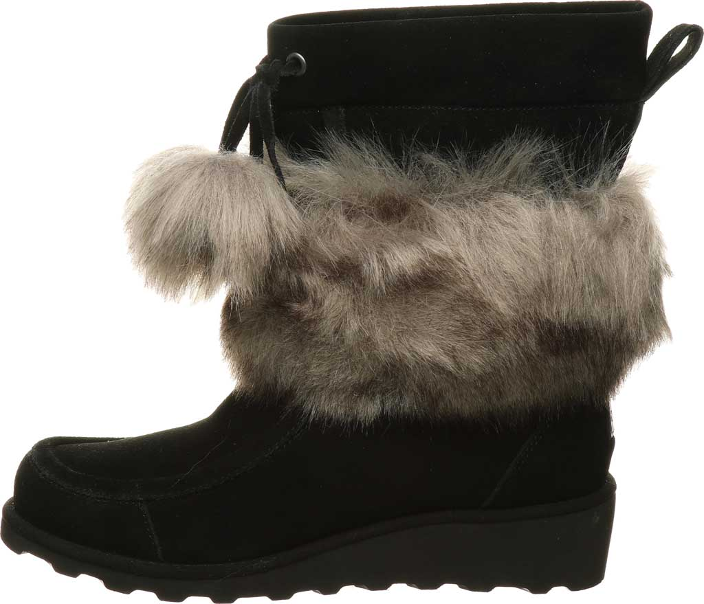 Women's Bearpaw Arden Moc Toe Wedge Boot, Black II Suede, large, image 3