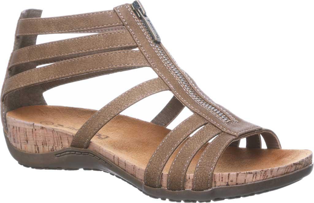 Women's Bearpaw Layla II Wide Strappy Sandal, Brown Faux Leather, large, image 1
