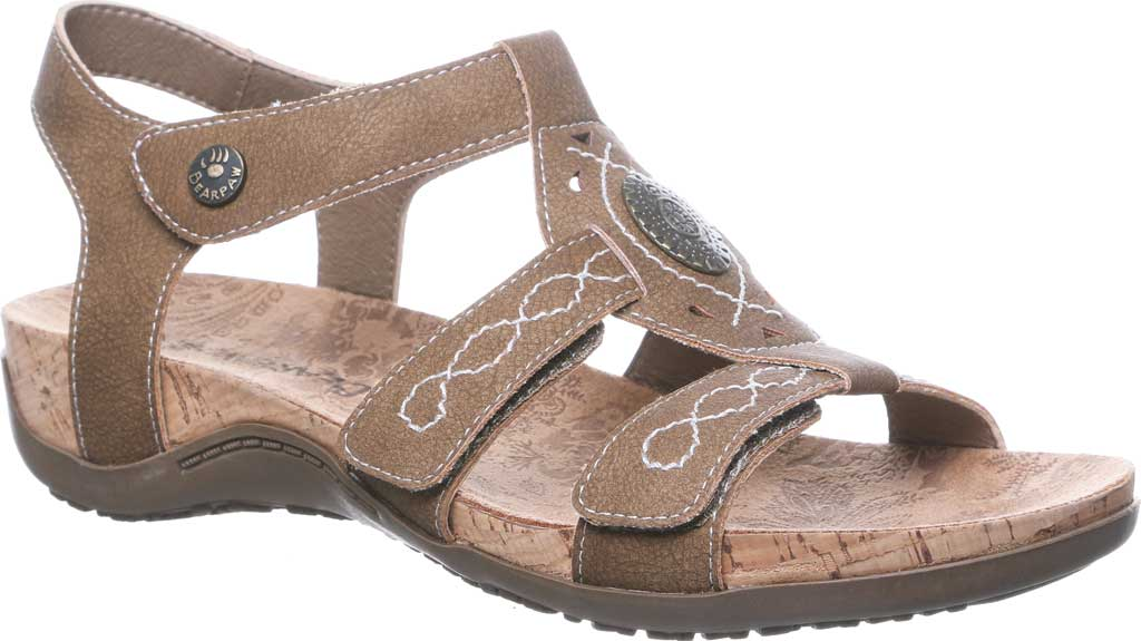 Women's Bearpaw Ridley II Strappy Sandal, Brown Faux Leather, large, image 1