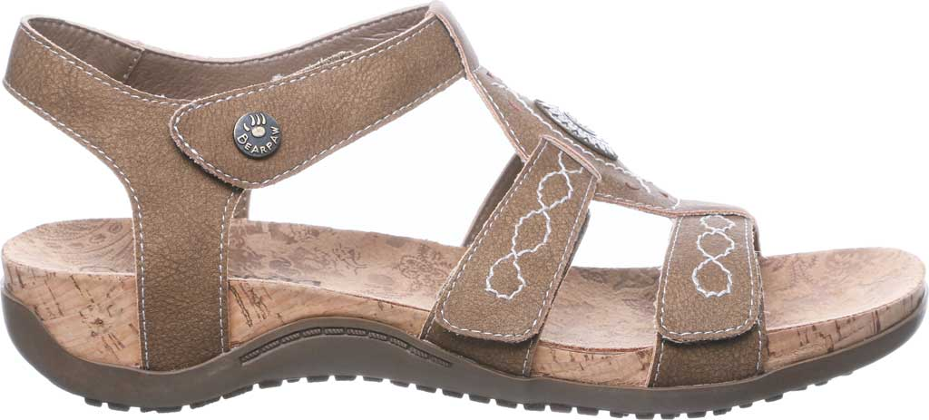 Women's Bearpaw Ridley II Strappy Sandal, Brown Faux Leather, large, image 2