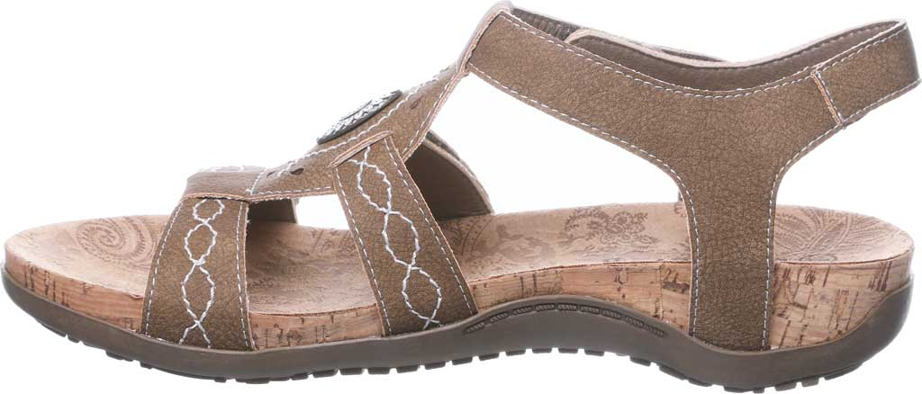 Women's Bearpaw Ridley II Strappy Sandal, Brown Faux Leather, large, image 3