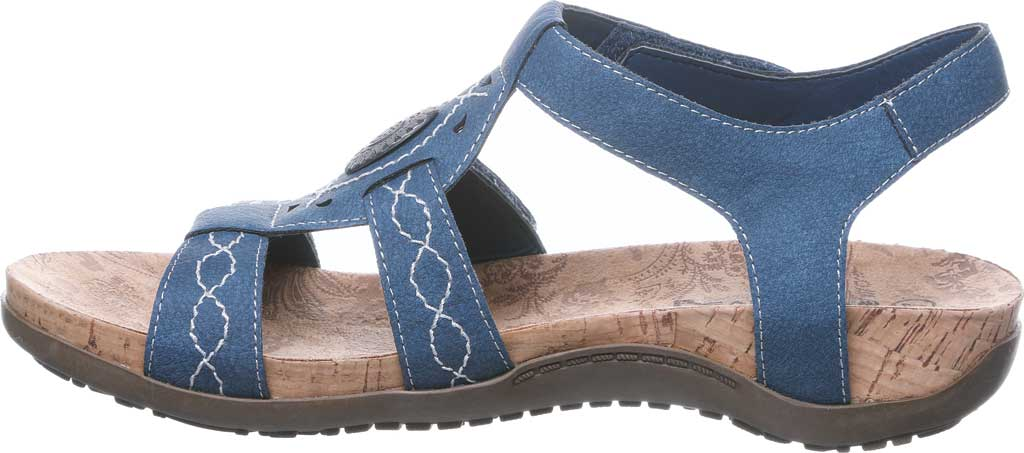 Women's Bearpaw Ridley II Strappy Sandal, Blue Faux Leather, large, image 3