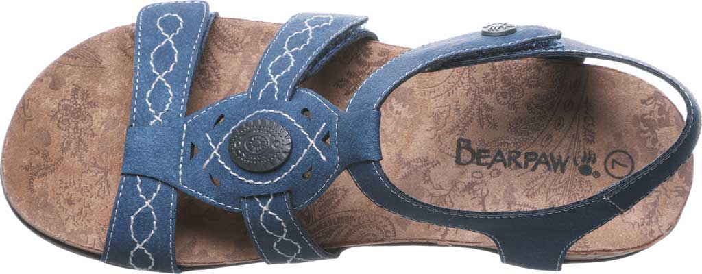 Women's Bearpaw Ridley II Strappy Sandal, Blue Faux Leather, large, image 5