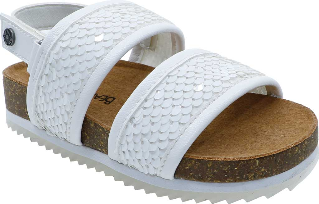 Infant Bearpaw Jemma Toddler Strappy footbed Sandal, White Faux Leather/Sequins, large, image 1